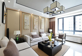120平中式风格家沙发背景墙图片