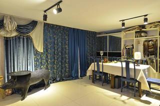 中式风格工作室装修窗帘图片