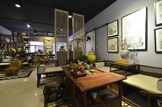 中式风格工作室装修会客区布置图