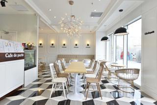 80平小清新咖啡厅装修吊顶设计