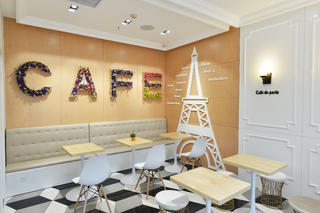 80平小清新咖啡厅装修卡座背景墙图片
