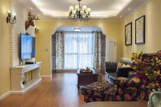 乡村美式二居客厅设计图
