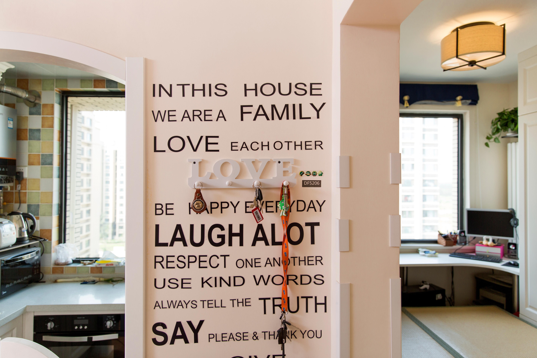 76平现代美式家门厅墙面设计