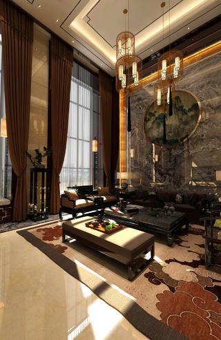 中式别墅装修客厅挑空设计