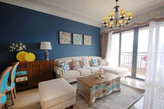 80平美式风二居装修客厅搭配图