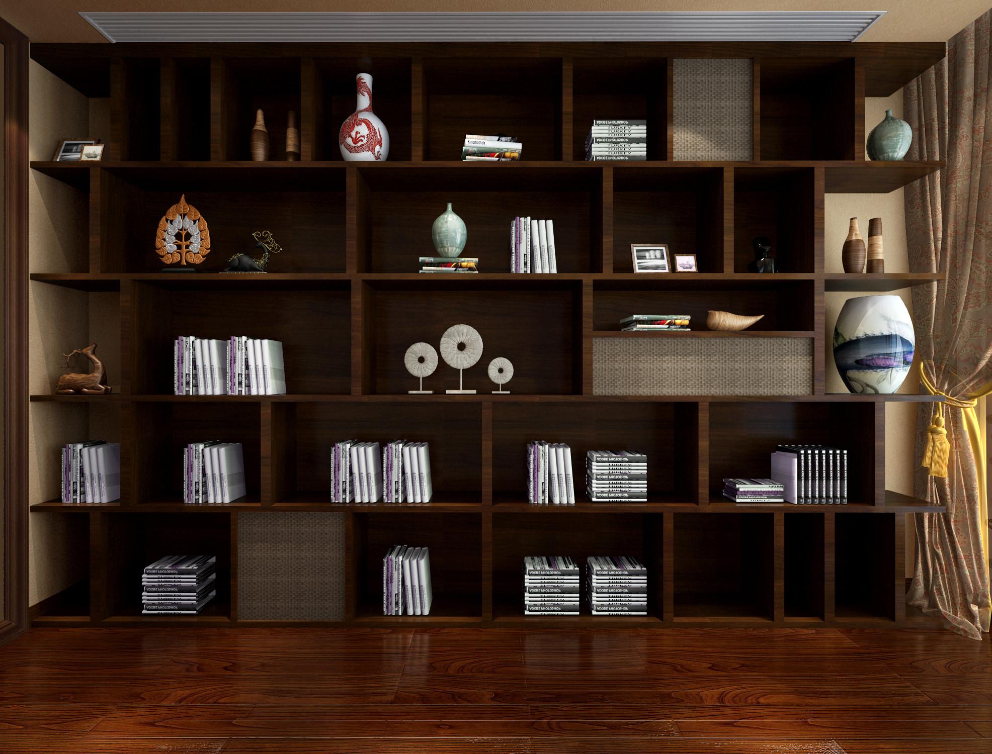 新中式别墅装修书架图片