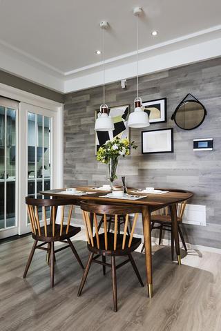 北欧混搭三居设计餐桌椅图片