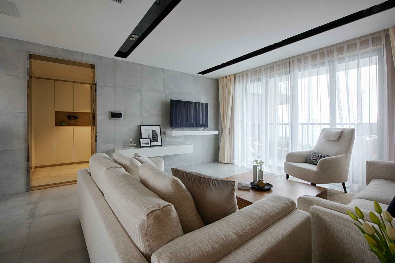 130平现代简约家客厅布置图