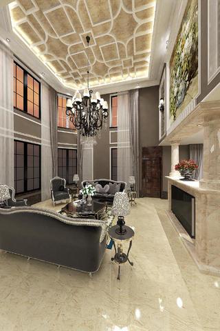 现代欧式别墅装修客厅顶面造型图