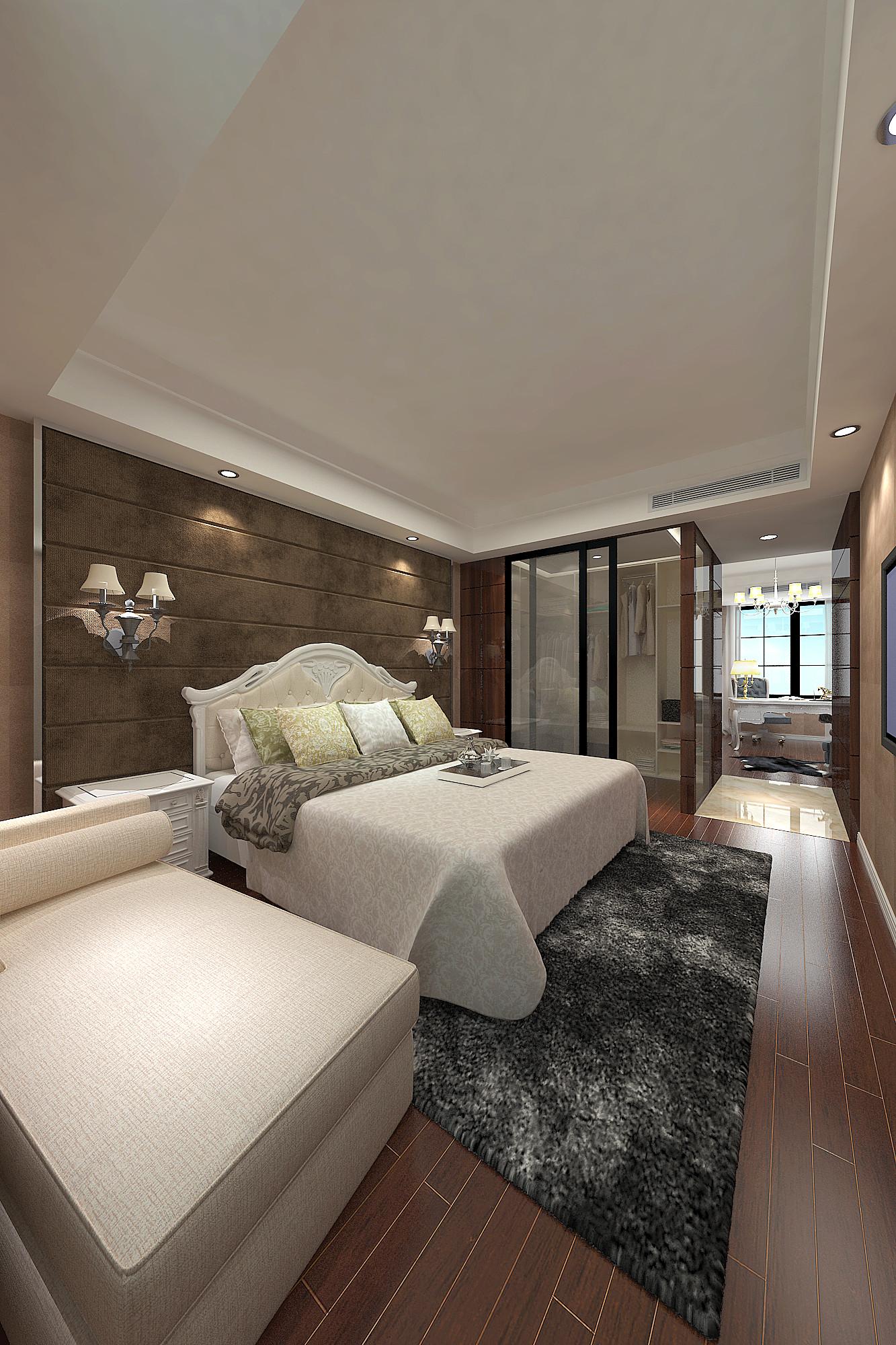 现代欧式别墅装修卧室效果图
