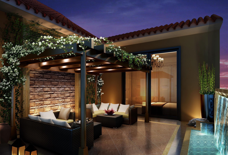 东南亚风格别墅装修露台休闲区
