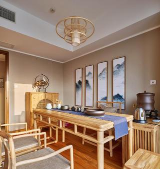 150㎡中式装修茶室效果图