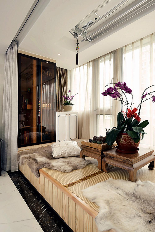 中式风格三居装修榻榻米茶台设计