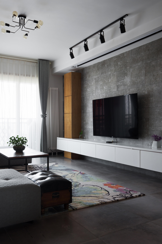 110平Loft风格装修电视背景墙图片