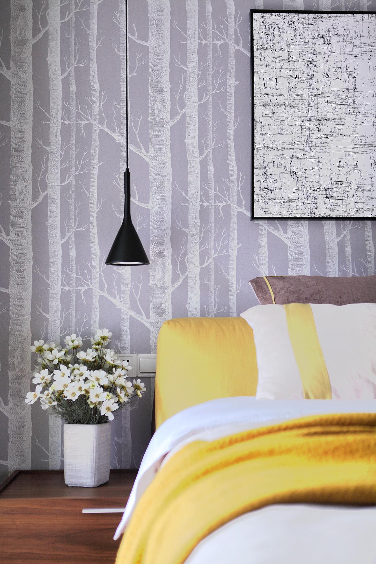 89平现代北欧风装修床头吊灯设计