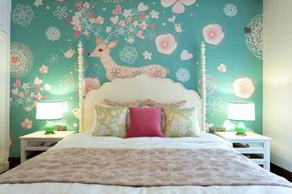 美式别墅装修床头壁纸图片