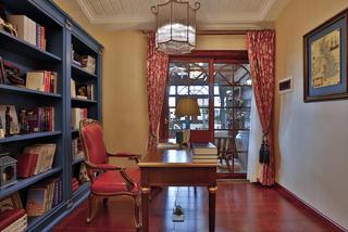 古典美式复式装修书房效果图