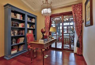 古典美式复式装修书柜图片