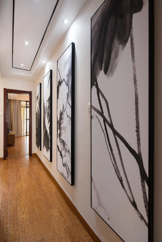 新中式别墅装修走道墙面设计