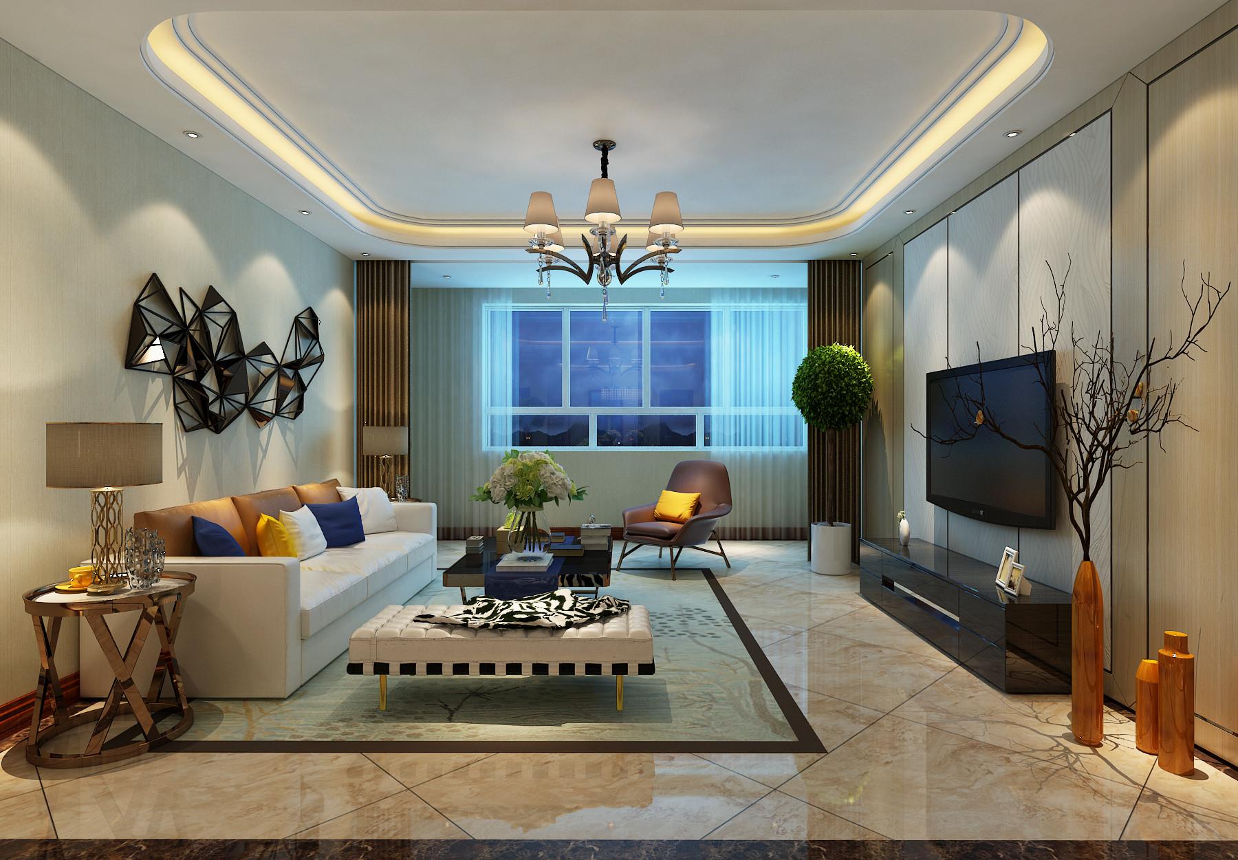 140平现代简约装修客厅效果图