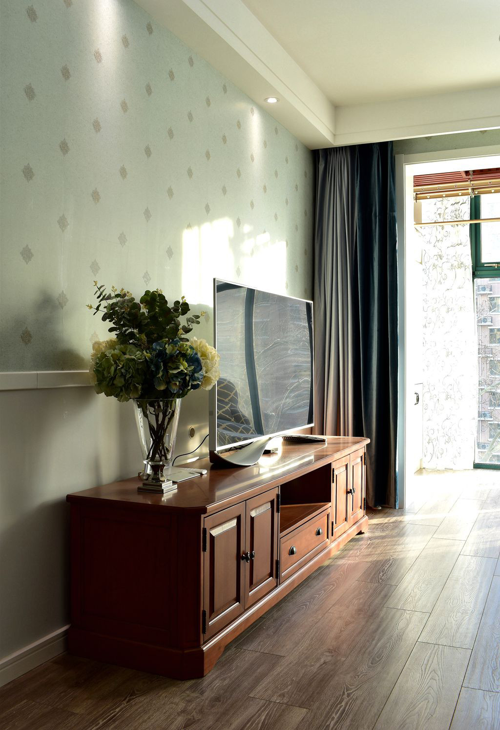 美式风格二居装修电视背景墙图片