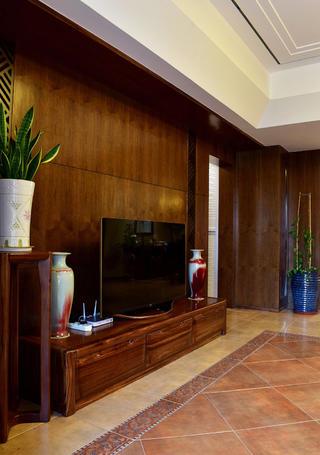 160平米中式风格装修电视背景墙图片