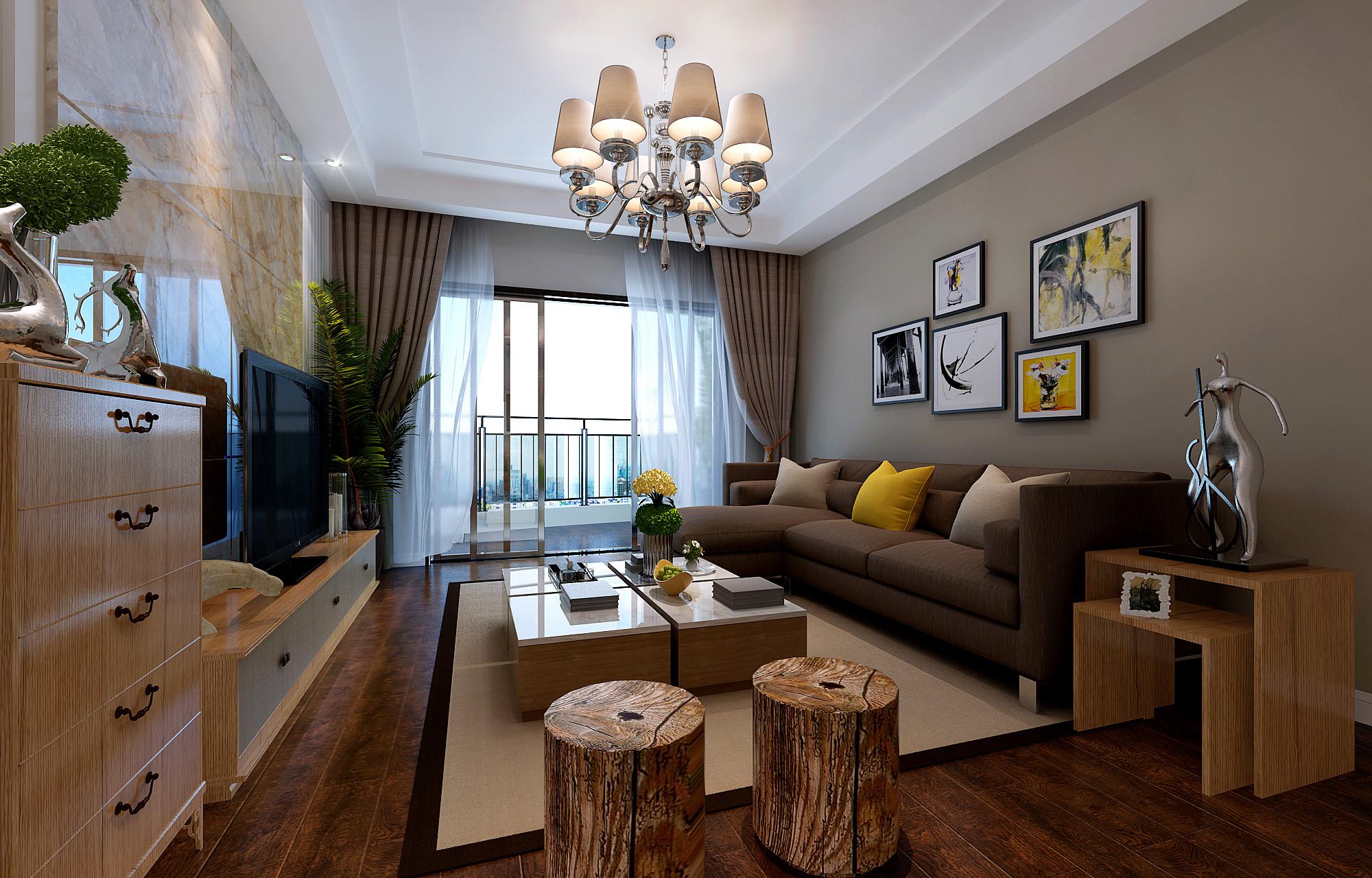 120平简约风格家装修客厅效果图