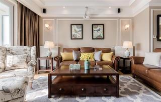 170平美式装修沙发背景墙图片