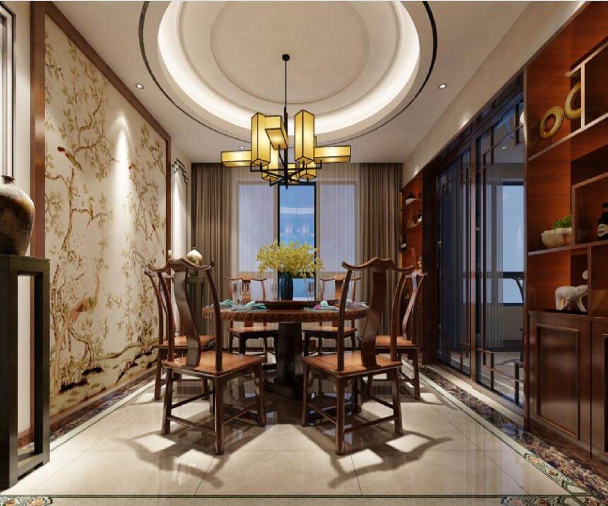 新中式四居装修餐厅效果图