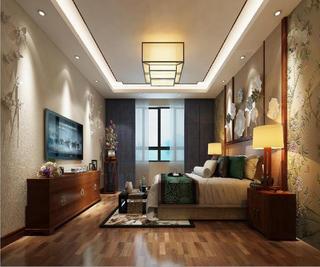新中式四居装修主卧效果图