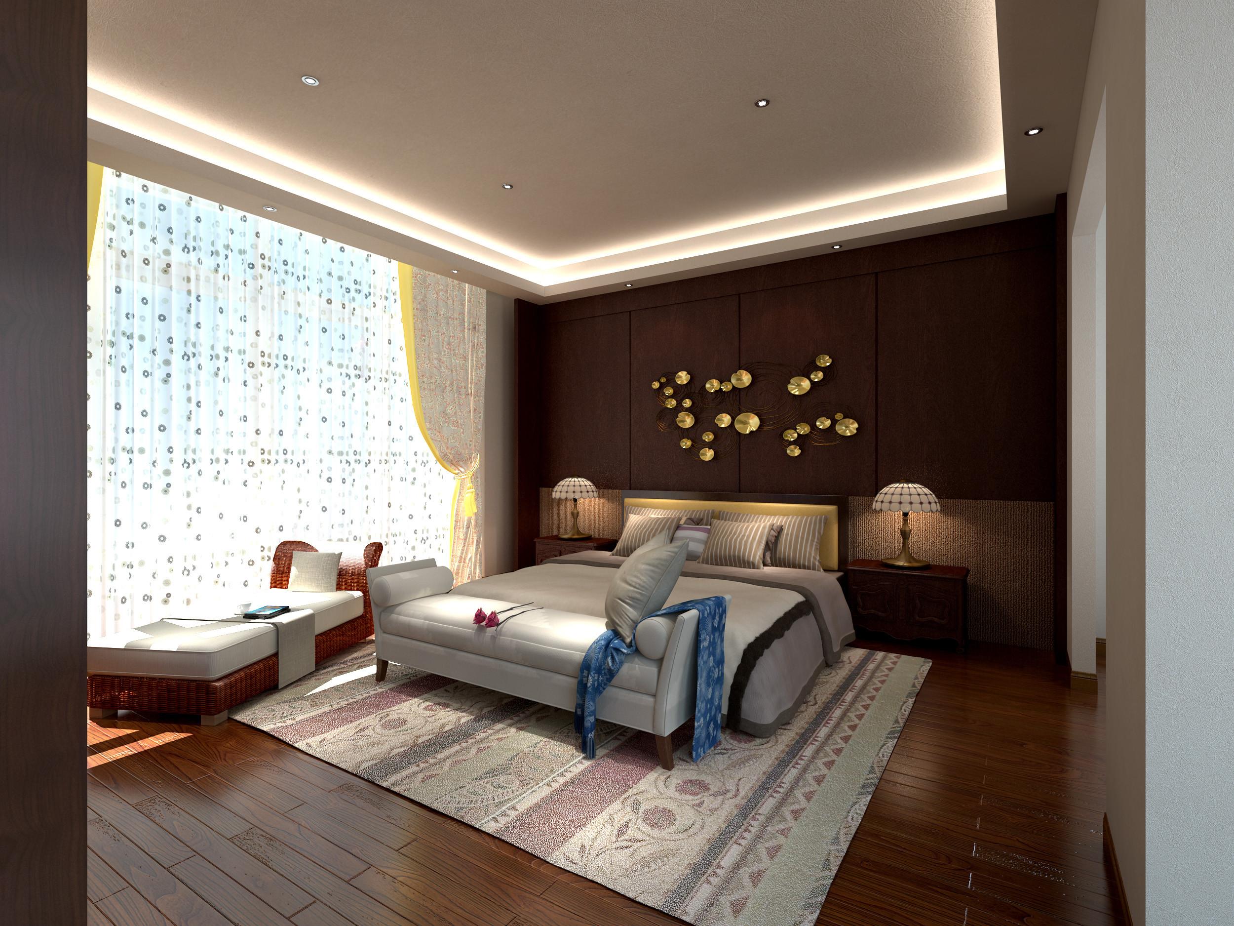 新中式别墅装修床头墙设计