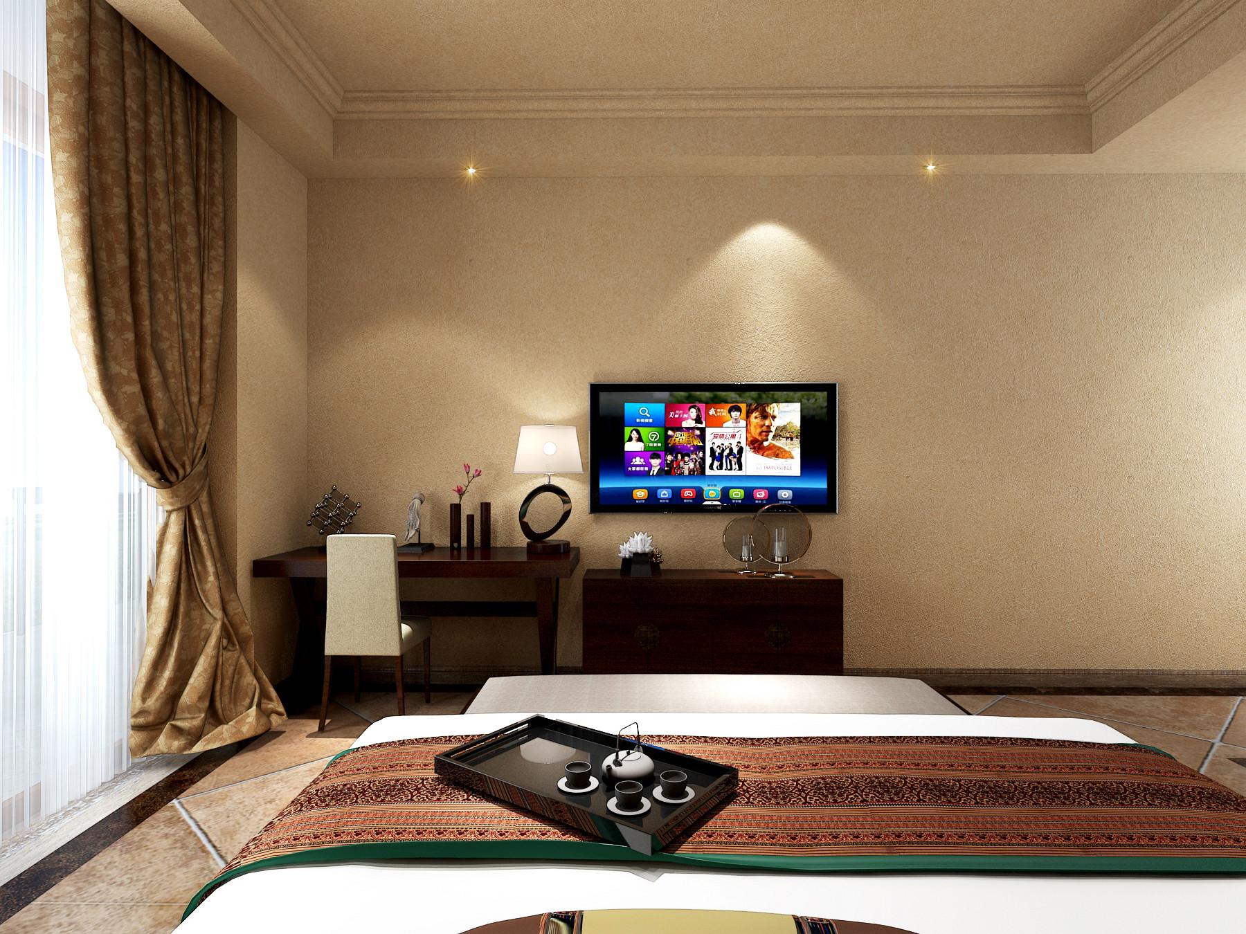 新中式别墅装修电视背景墙图片