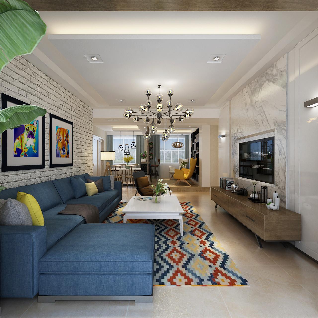 130平三居之家客厅效果图