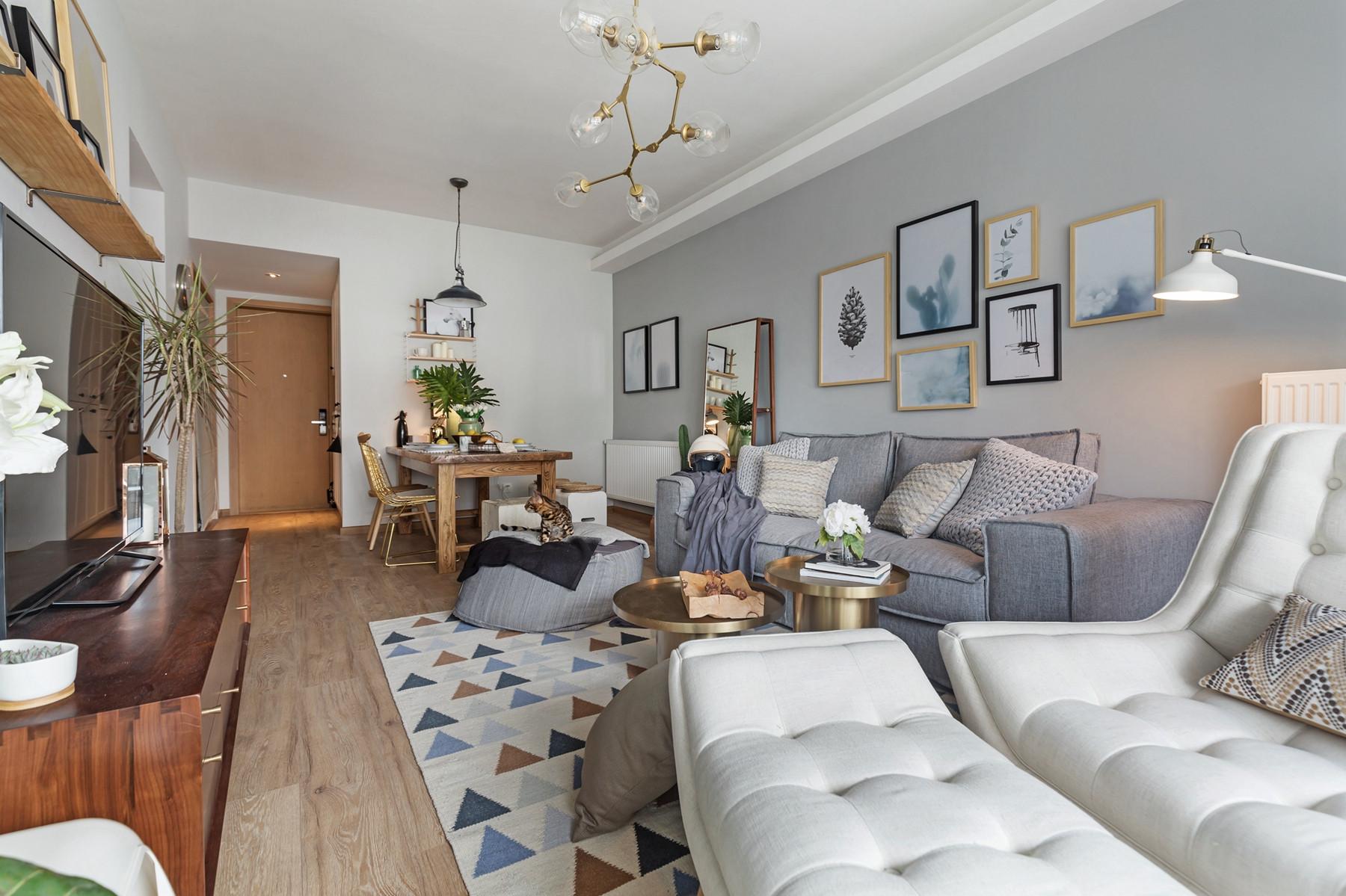 二居室北欧风格家沙发墙图片