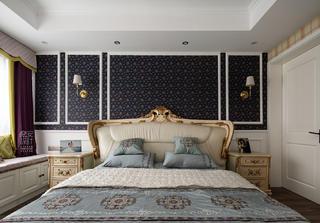 简美复式装修床头背景墙图片