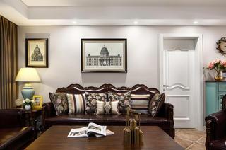 三居室美式风格家沙发背景墙图片