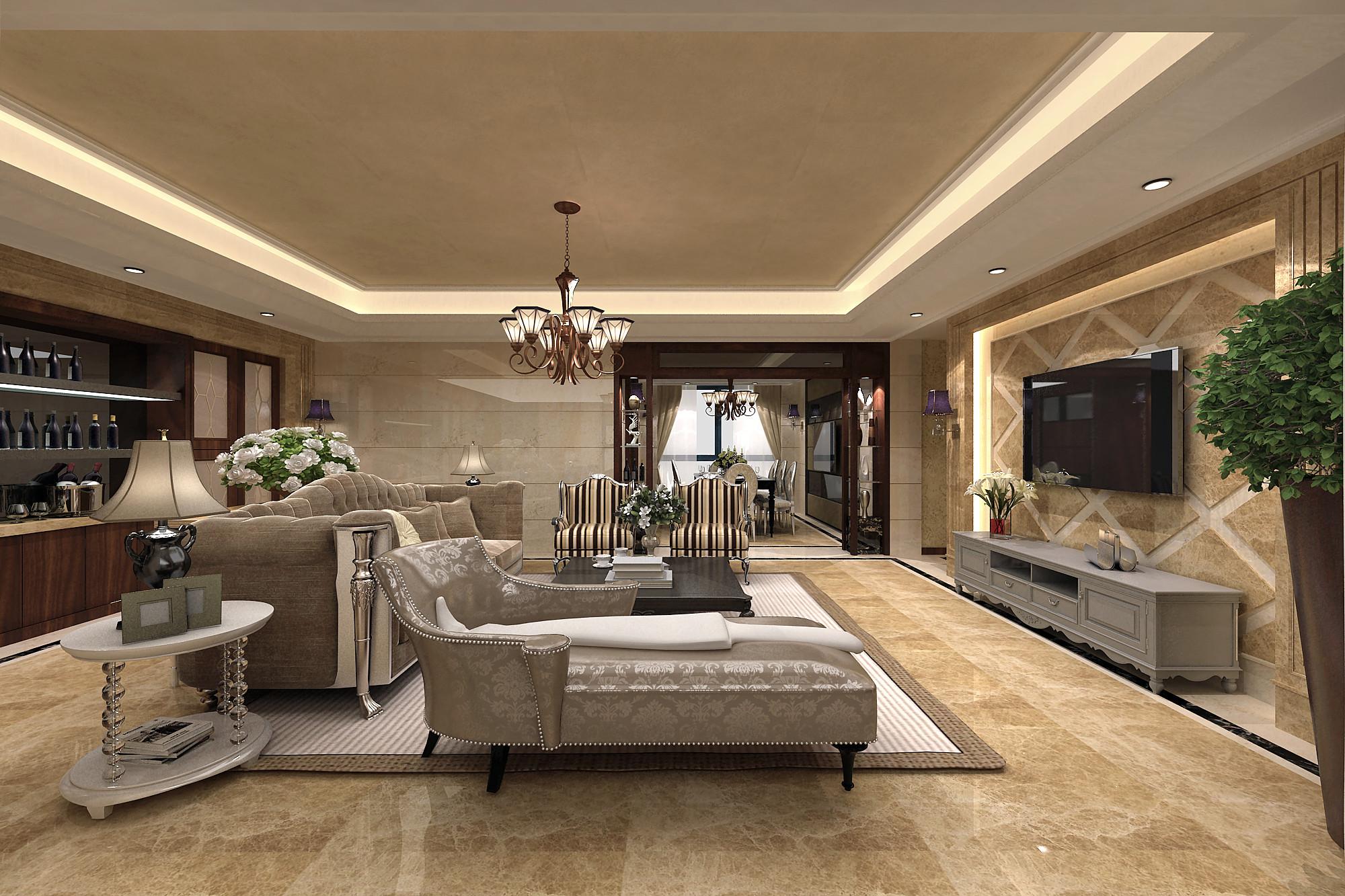 大户型简约欧式装修客厅效果图