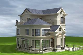 现代欧式别墅装修整体外观造型图