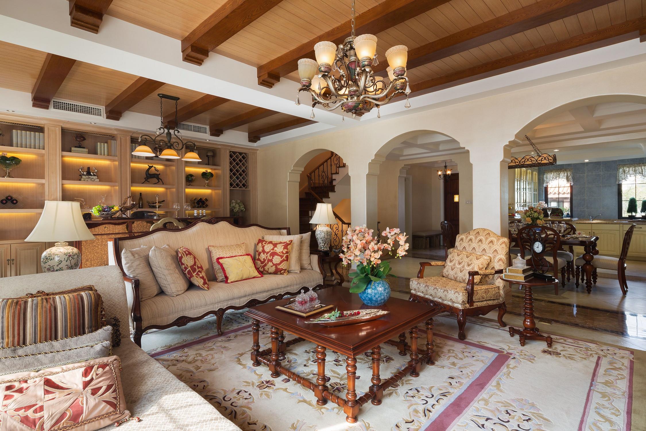 美式别墅装修设计客厅效果图
