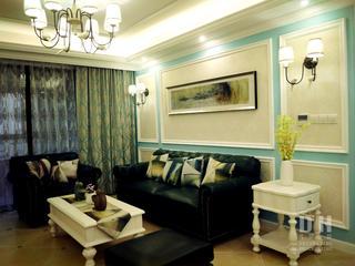 130平美式风格装修沙发背景墙图片