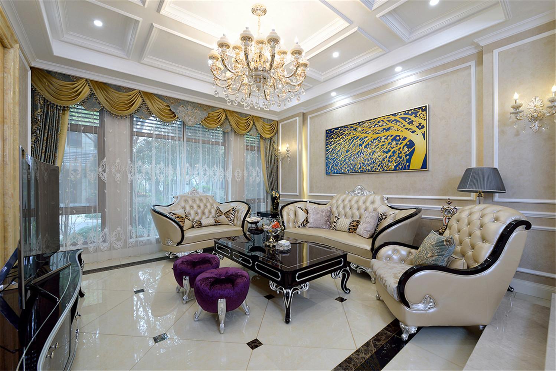 法式别墅装修客厅顶面造型图
