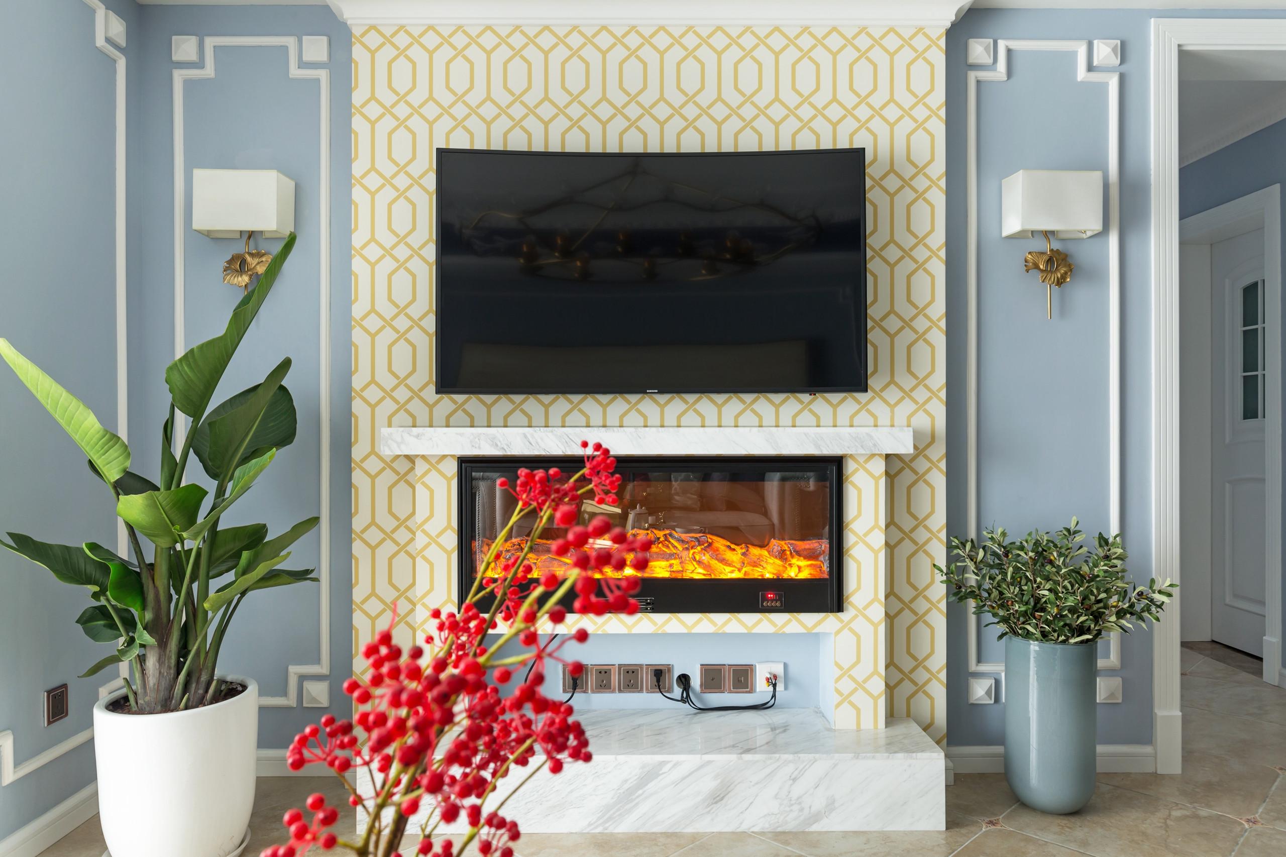 美式三居装修电视背景墙图片