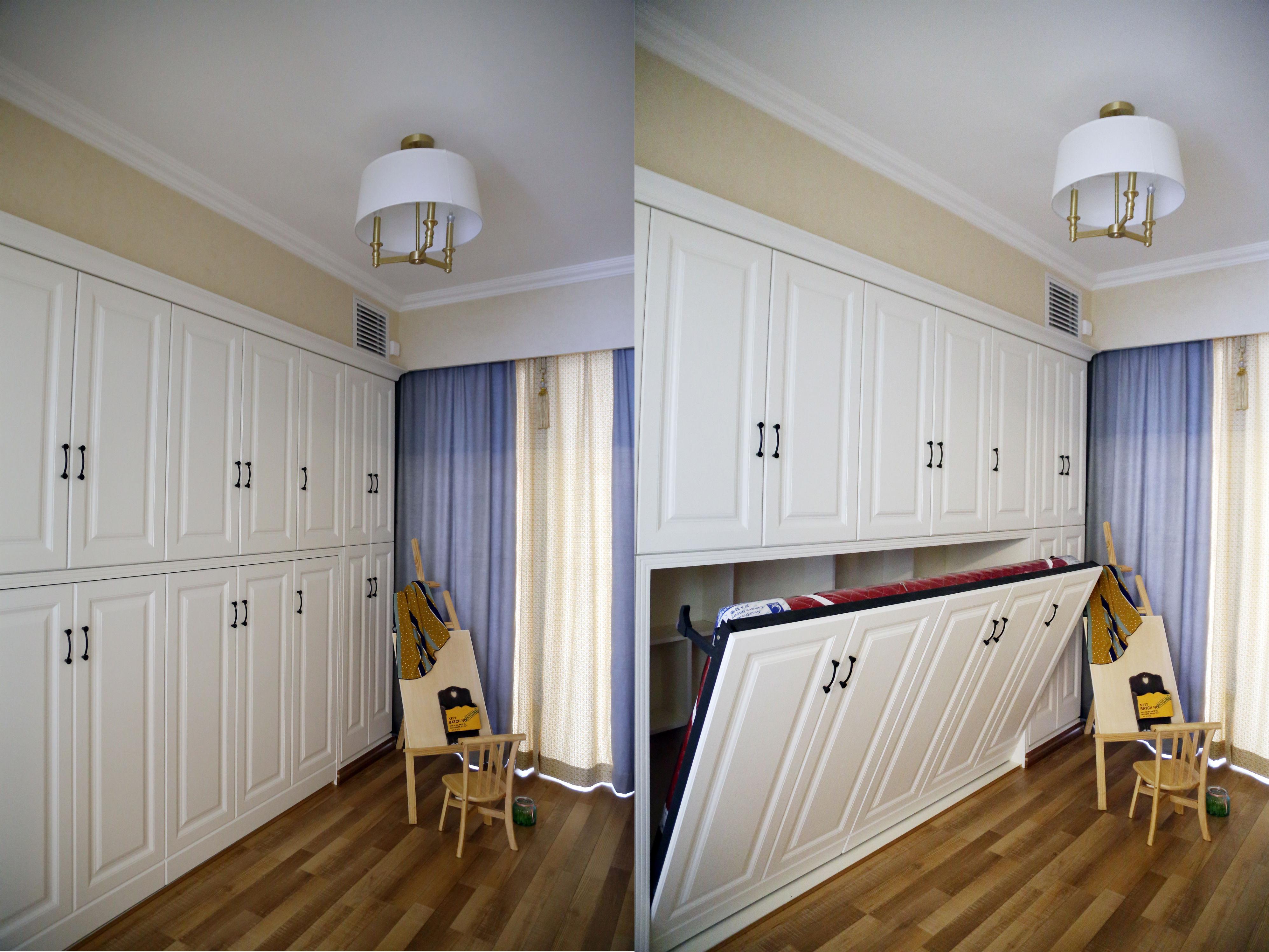 美式三居装修衣帽间隐形床设计