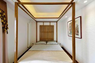 新中式三居装修卧室背景墙图片