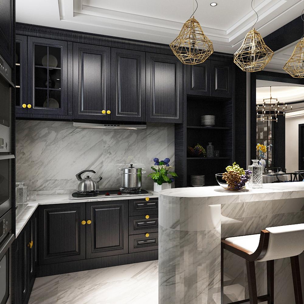 大户型新中式装修厨房效果图