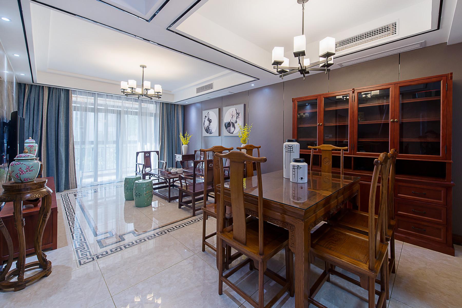 新中式别墅装修客餐厅效果图