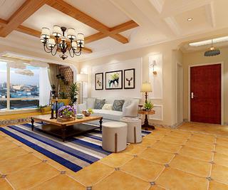 180平美式四居装修客厅吊顶设计