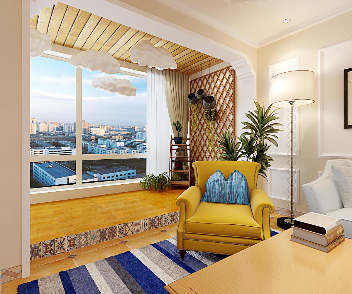 180平美式四居装修阳台效果图