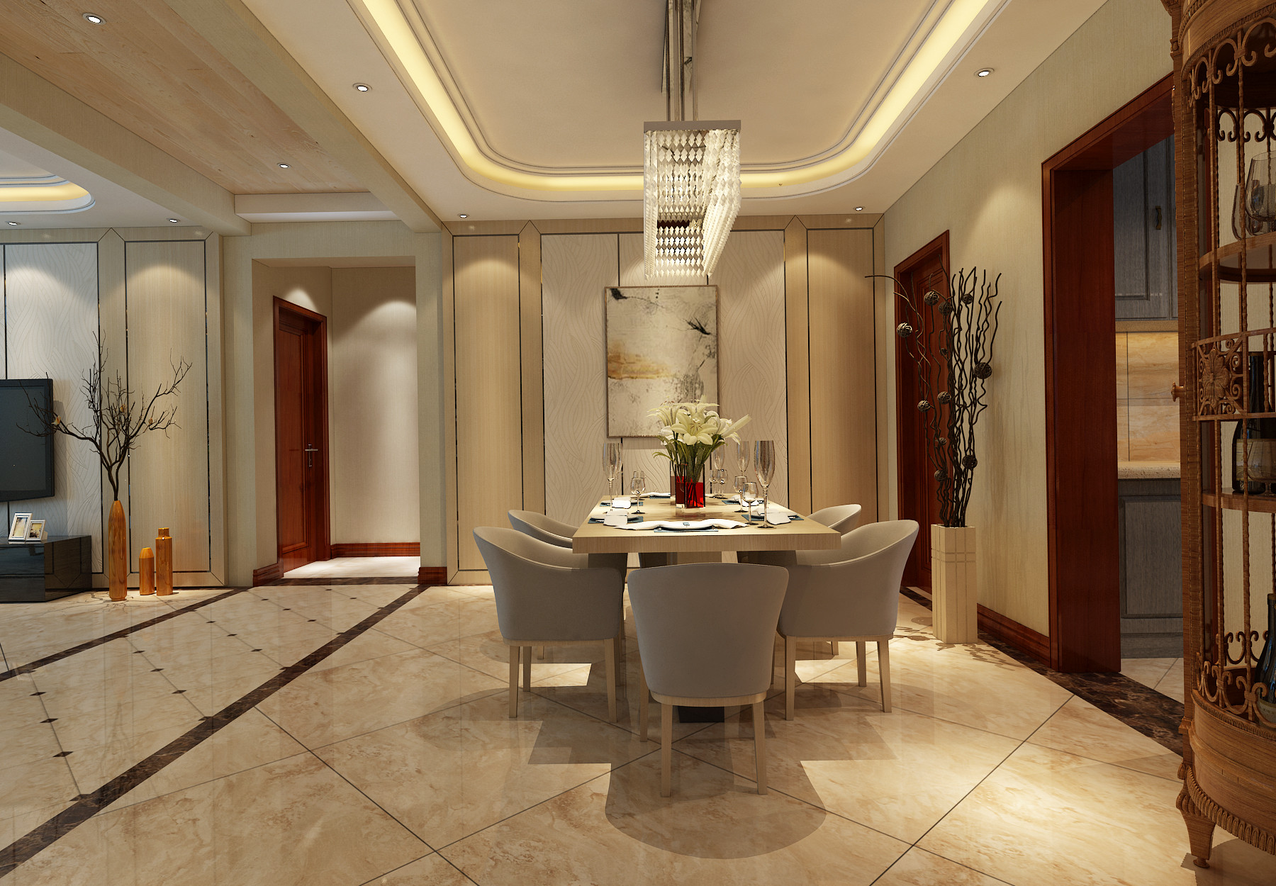 140平现代简约装修餐厅效果图