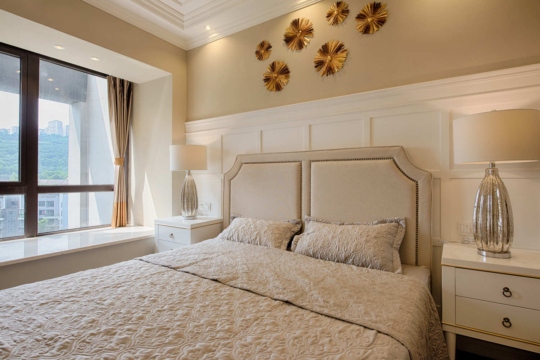现代美式三居装修主卧效果图